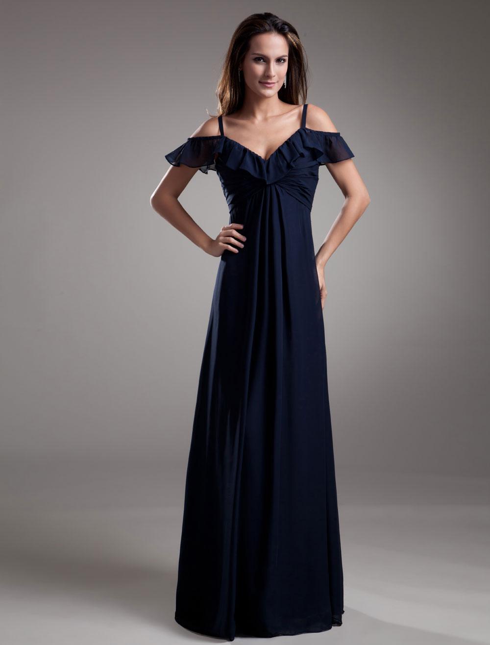 robe de soire en chiffon bleu marine fonc avec volant milanoocom - Milanoo Robe De Soiree Pour Mariage