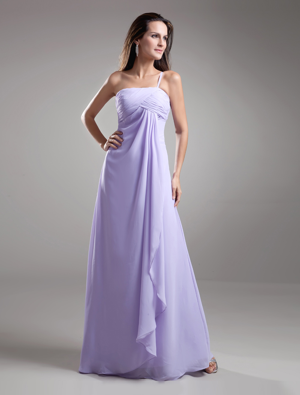 Elegant A-line Lavender Chiffon Cascading Ruffle Strapless Floor-Length Wedding Bridesmaid Dress