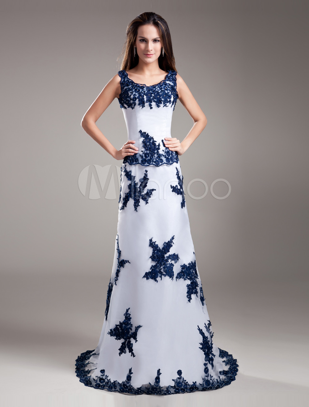 White Organza A-line Prom Dress with Square Neck Sleeveless Applique (Wedding Prom Dresses) photo