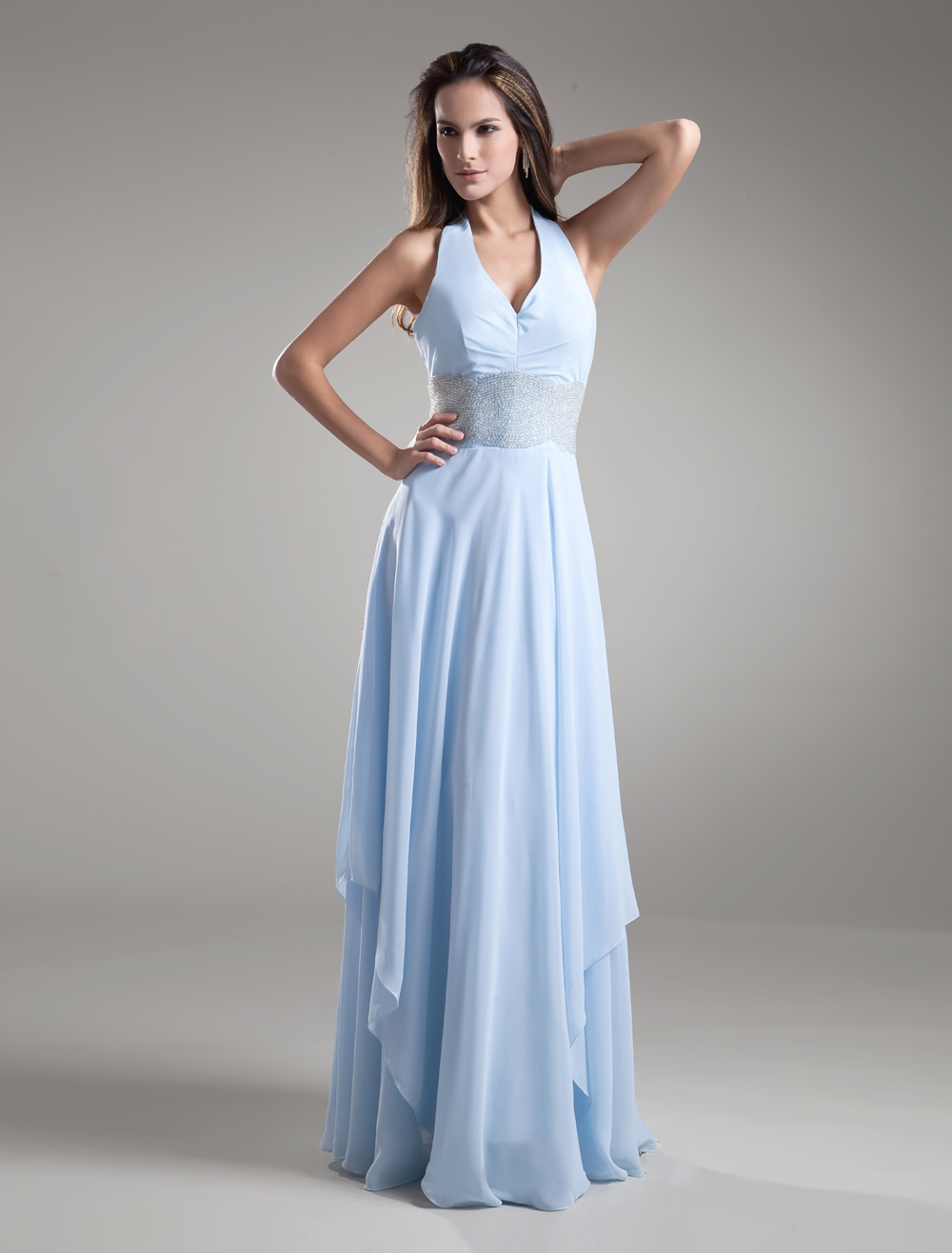 Chiffon Evening Dress Halter Backless Baby Blue Formal Dress Floor Length Beading Waist Long Bridesmaid Dress (Wedding Evening Dresses) photo