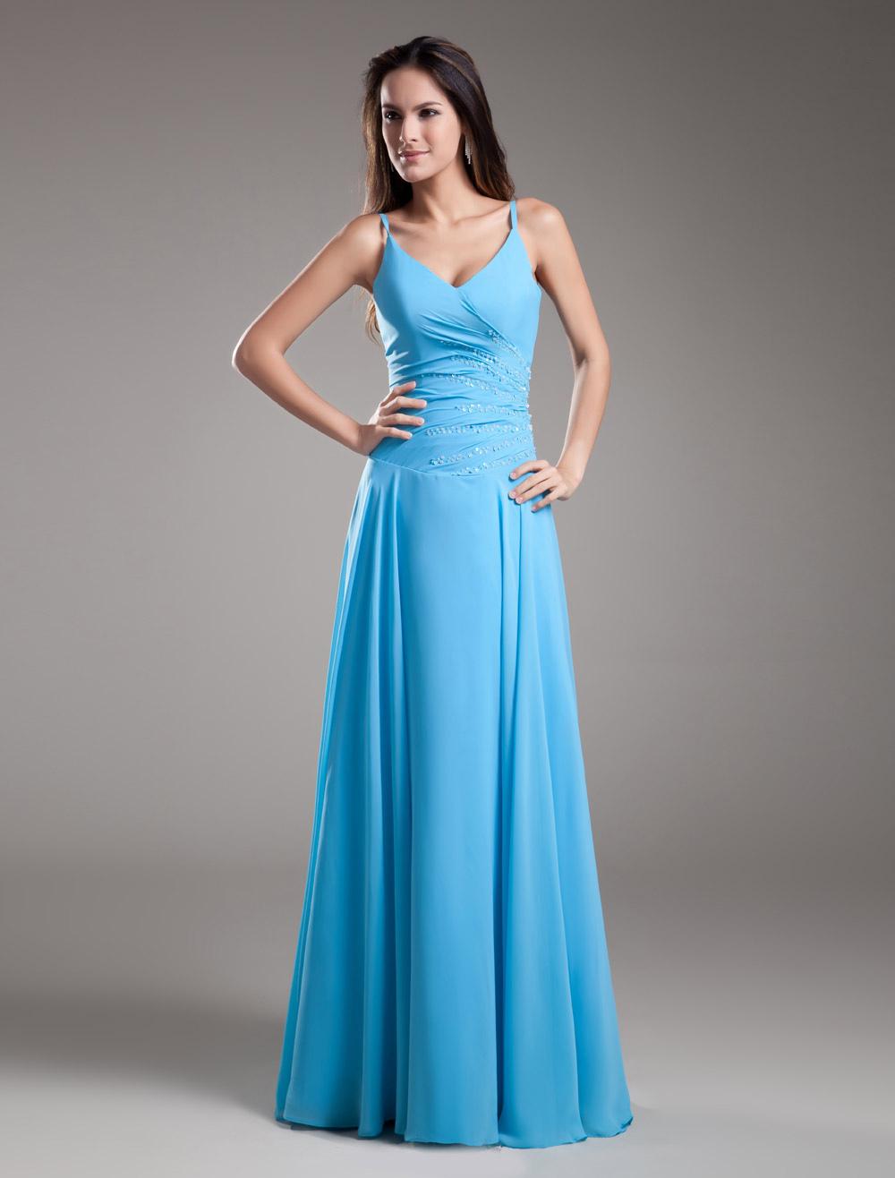 Chiffon Evening Dress Aqua V Neck Occasion Dress Spaghetti Strap Beading Long Bridesmaid Dress (Wedding Bridesmaid Dresses) photo