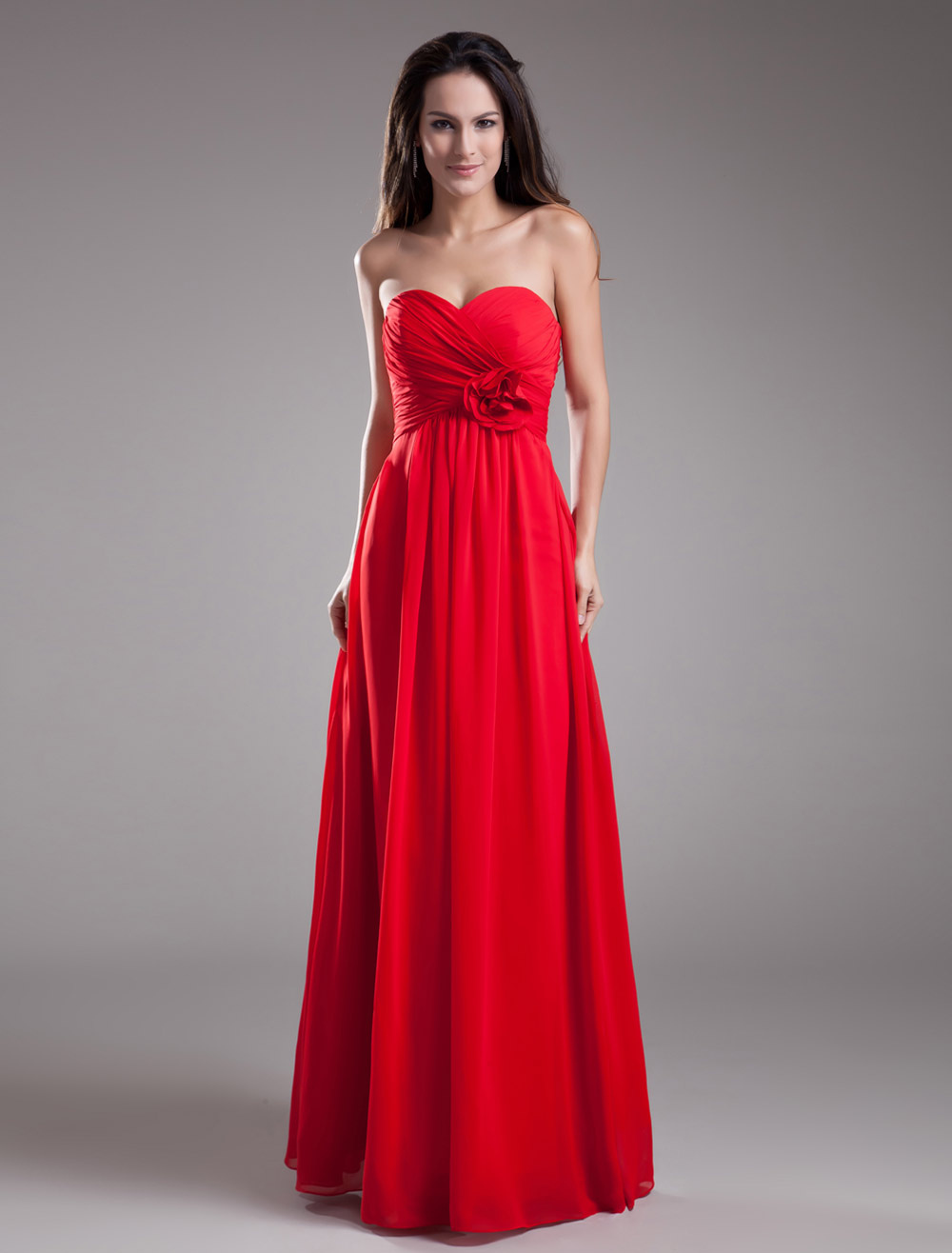 Beautiful A-line Red Chiffon Flower Sweetheart Neck Floor-Length Bridesmaid Dress For Wedding