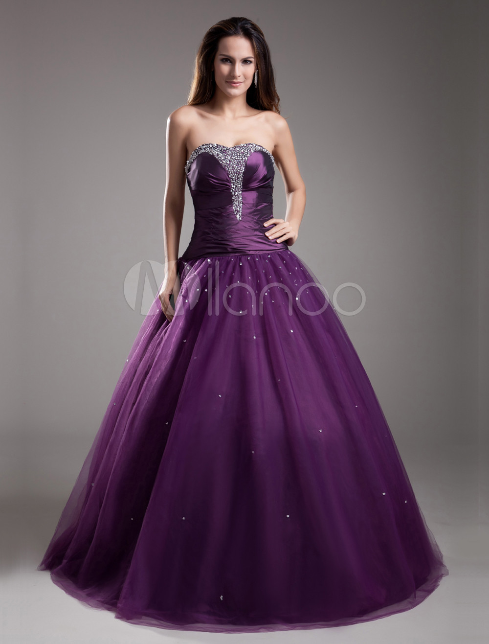 Formal Grape Beading Tulle Sweetheart Neck Ball Gown