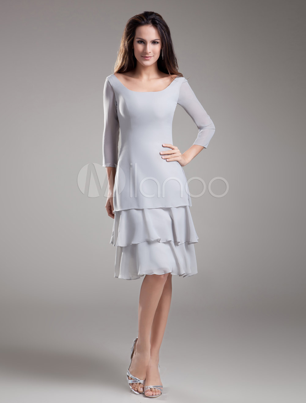 Elegant Sheath Silver Chiffon Tiered Off-The-Shoulder Knee-Length Bridesmaid Dress For Wedding