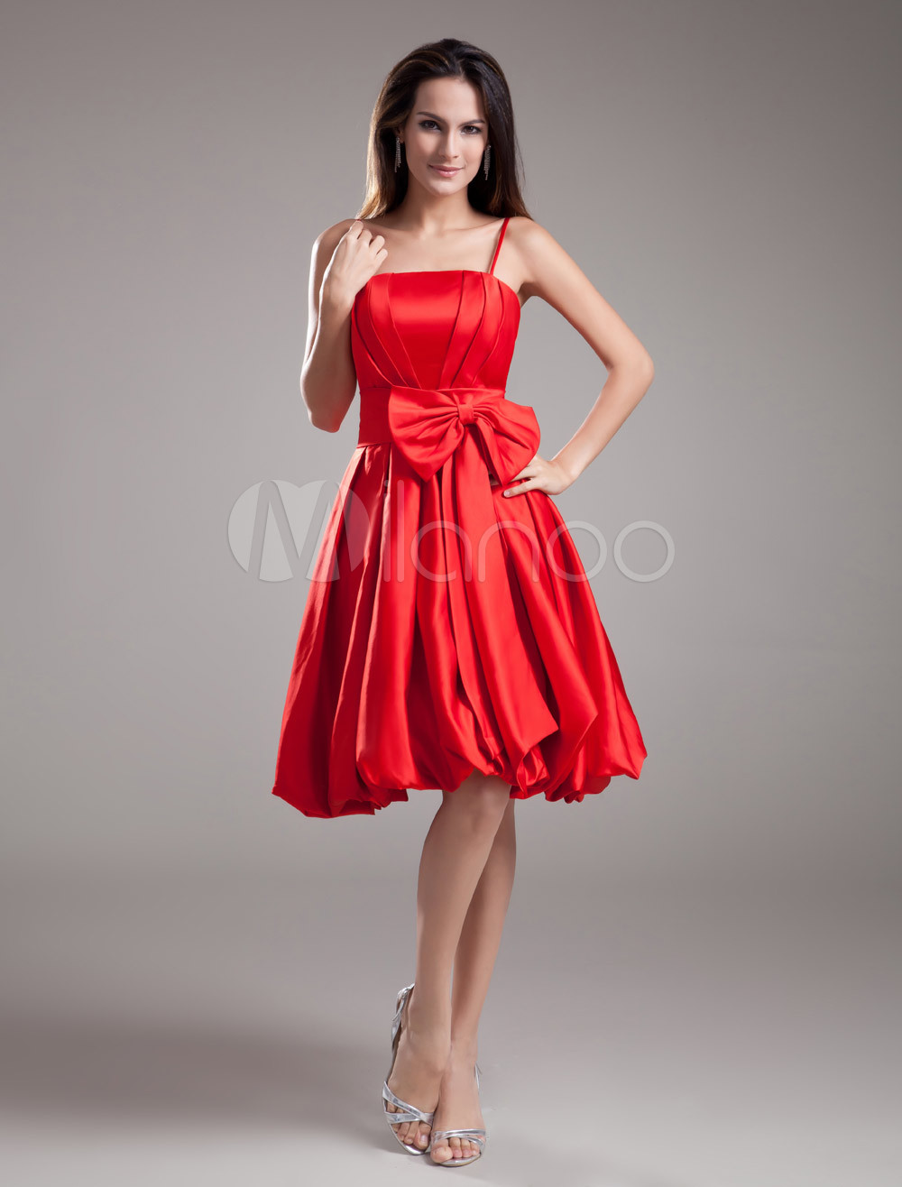 Beautiful A-line Red Satin Bow Straps Neck Knee-Length Fashion Bridesmaid Dress