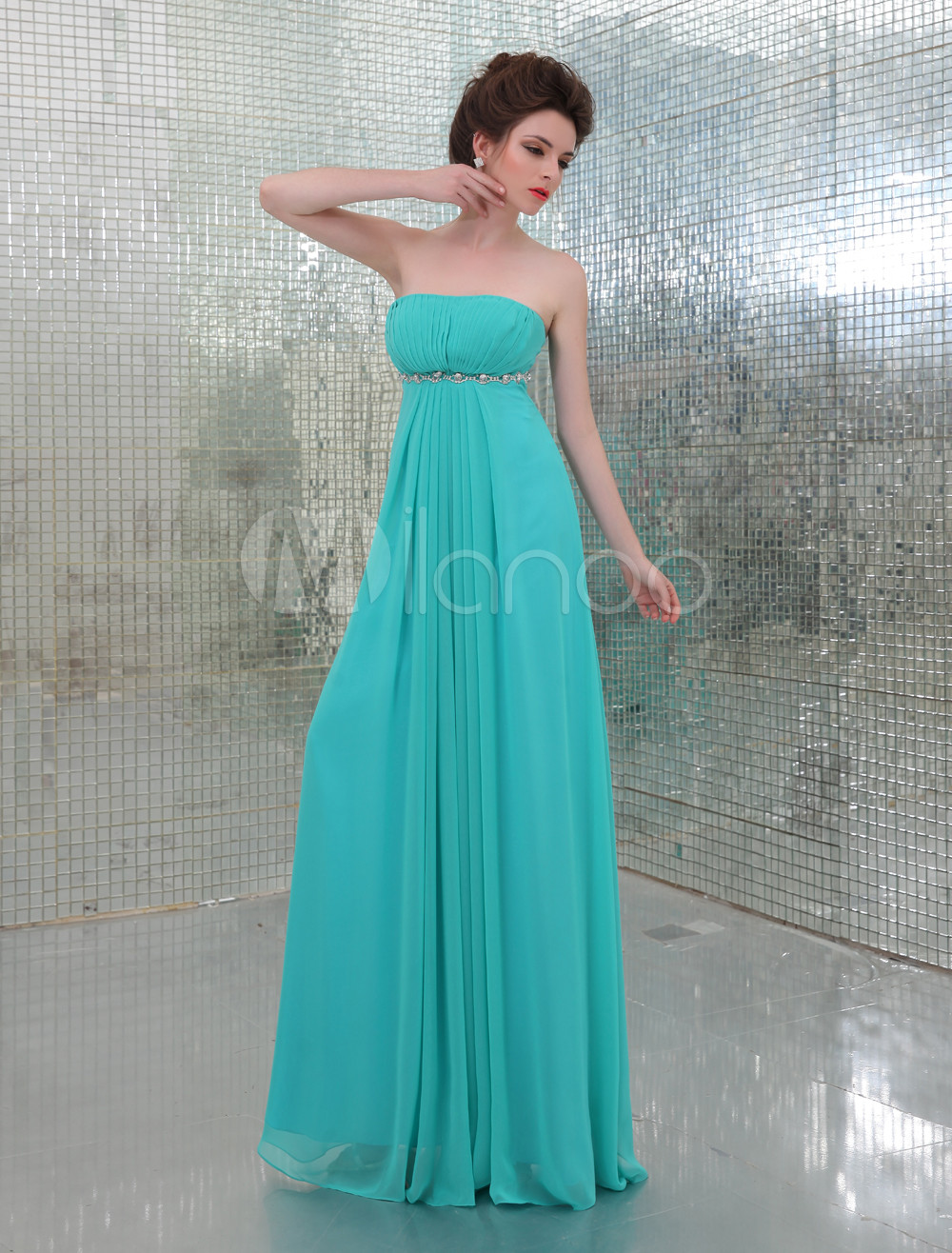 Green Strapless A-line Beading Chiffon Elegant Evening Dress (Wedding) photo