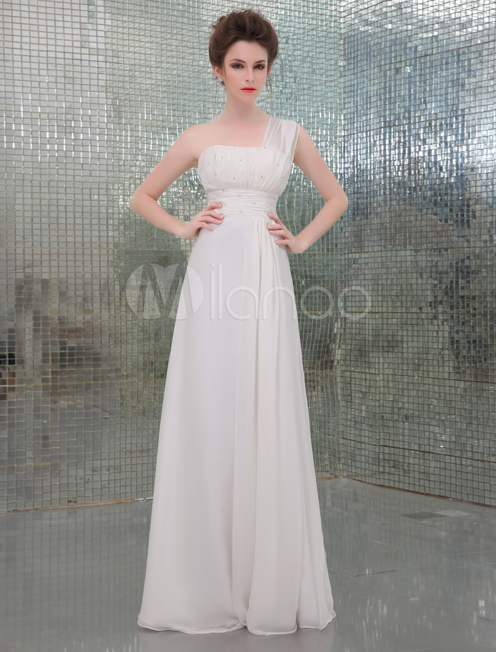 White One-Shoulder A-line Beading Chiffon Evening Dress (Wedding Evening Dresses) photo