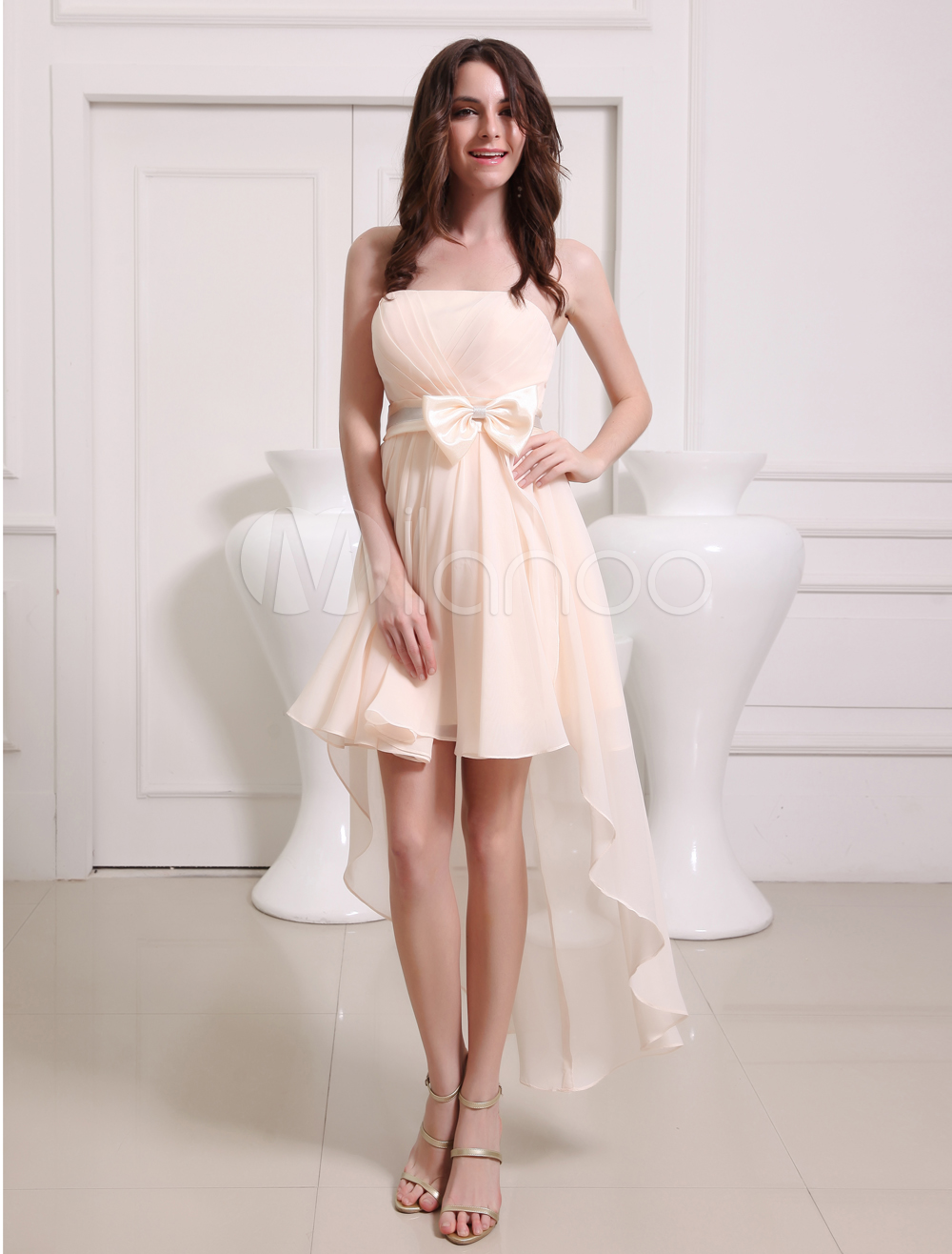 Gold Champagne A-line Sash Chiffon Pretty Bridesmaid Dress