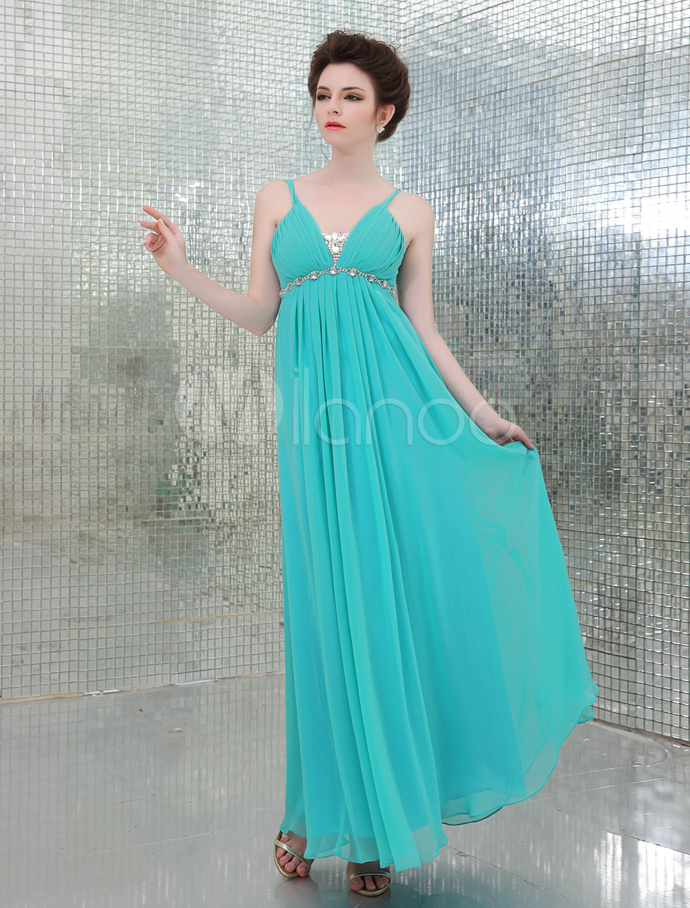 Floor-Length Straps A-line Beading Chiffon Green Bridesmaid Dress (Wedding) photo