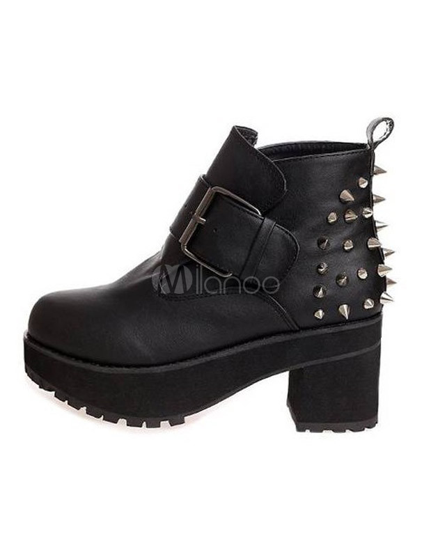 Bottines à talons hauts noir chic bout en amande Chunky talon Faux cuir cloue Ladies