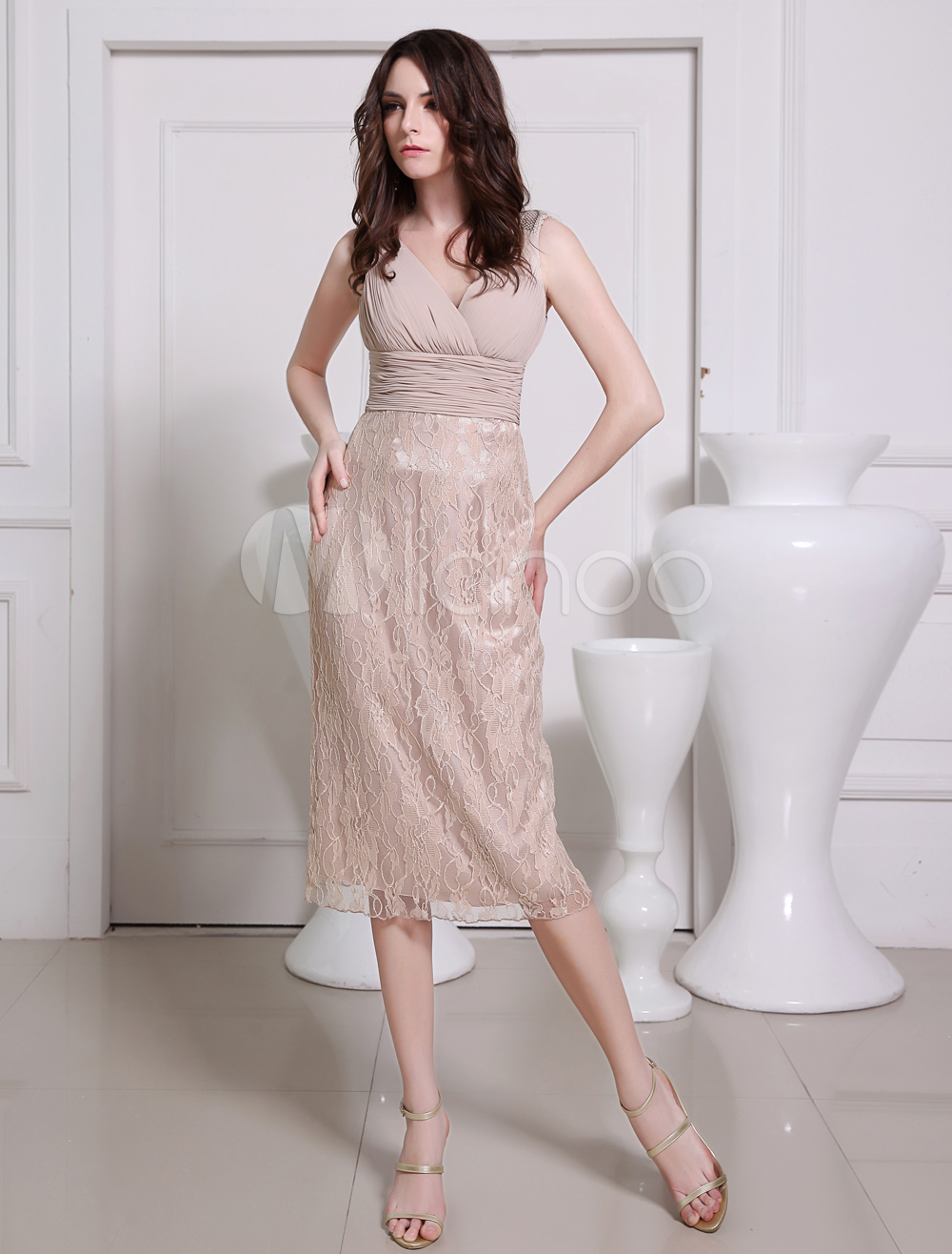Sheath Blushing Pink Lace Beading V-Neck Tea-Length Bridesmaid Dress
