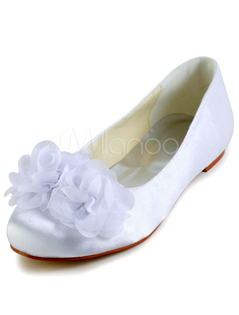 White Round Toe Stiletto Heel Silk And Satin Flat Shoes for Bride