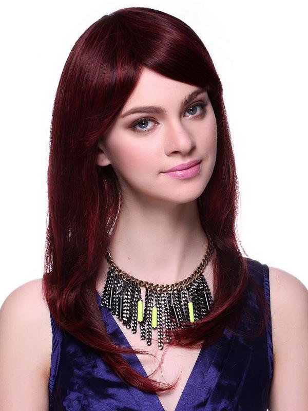 Fabulous burgundy human hair long curly women s wig milanoo com