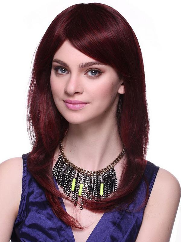 Fabulous Burgundy Human Hair Long Curly Women's Wig - Milanoo.com