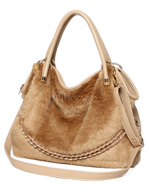 Fashionable Fur PU Leather Fashion Tote Bag for Women
