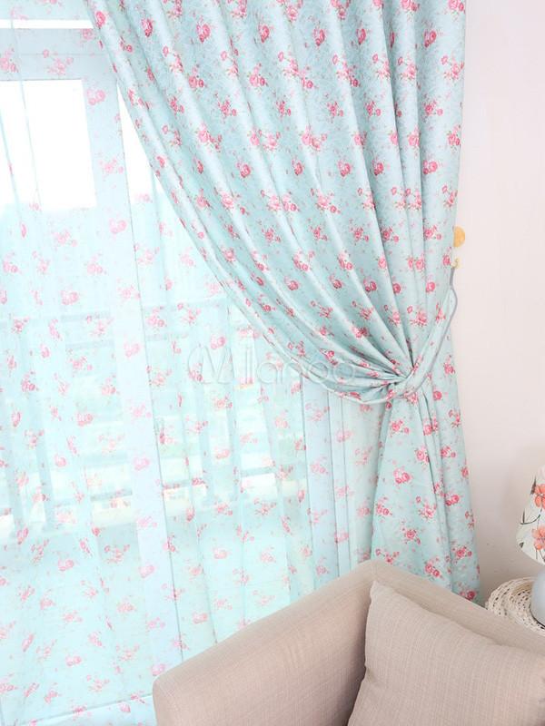 Rideaux de polyester impression floral beau bleu ciel - Rideaux photo impression ...