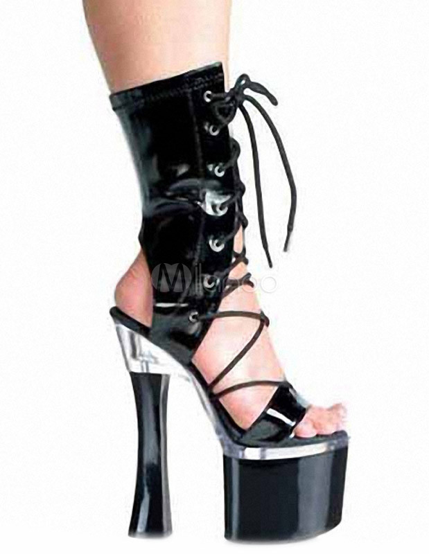 Black Patent Open Toe Lace-Up PU Leather Sexy High Heel Boots For Women