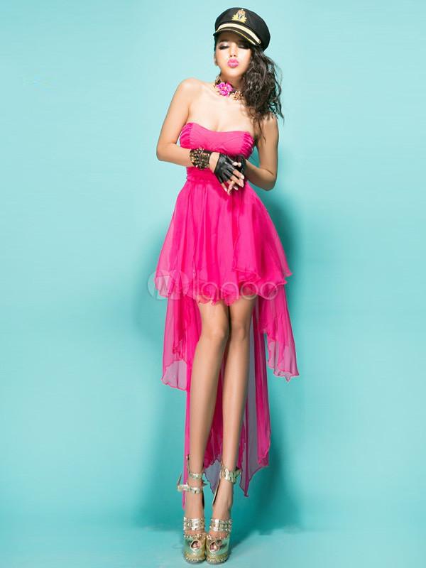 Belle charmante robe de club rose unicolore bustier devant - Coupe courte devant et longue derriere ...
