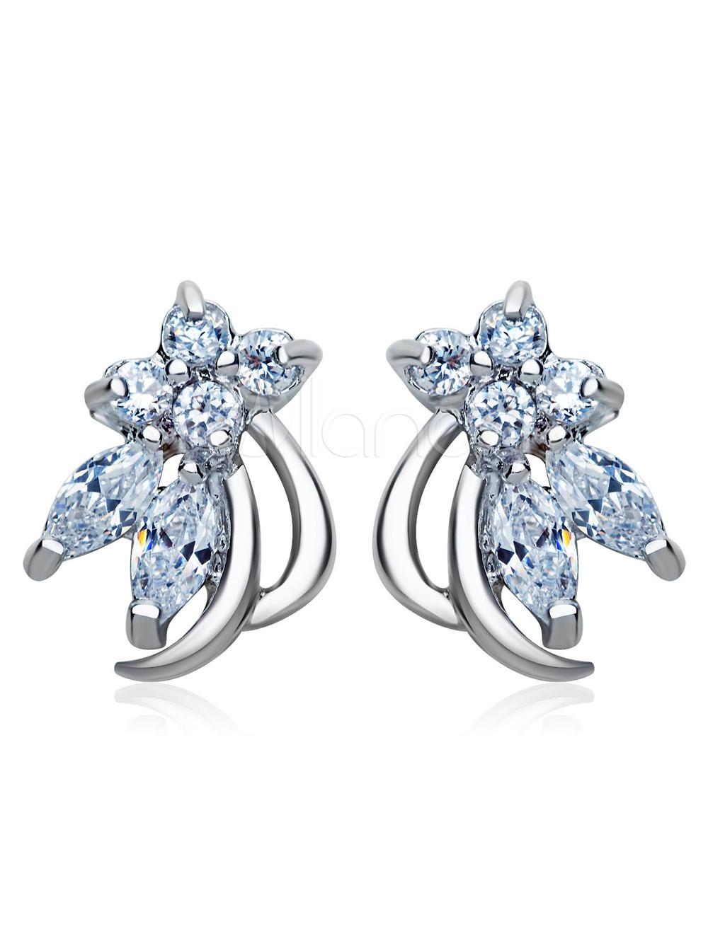 Bronze Cubic Zirconia Pierced Glamour Women's Crystal Earrings