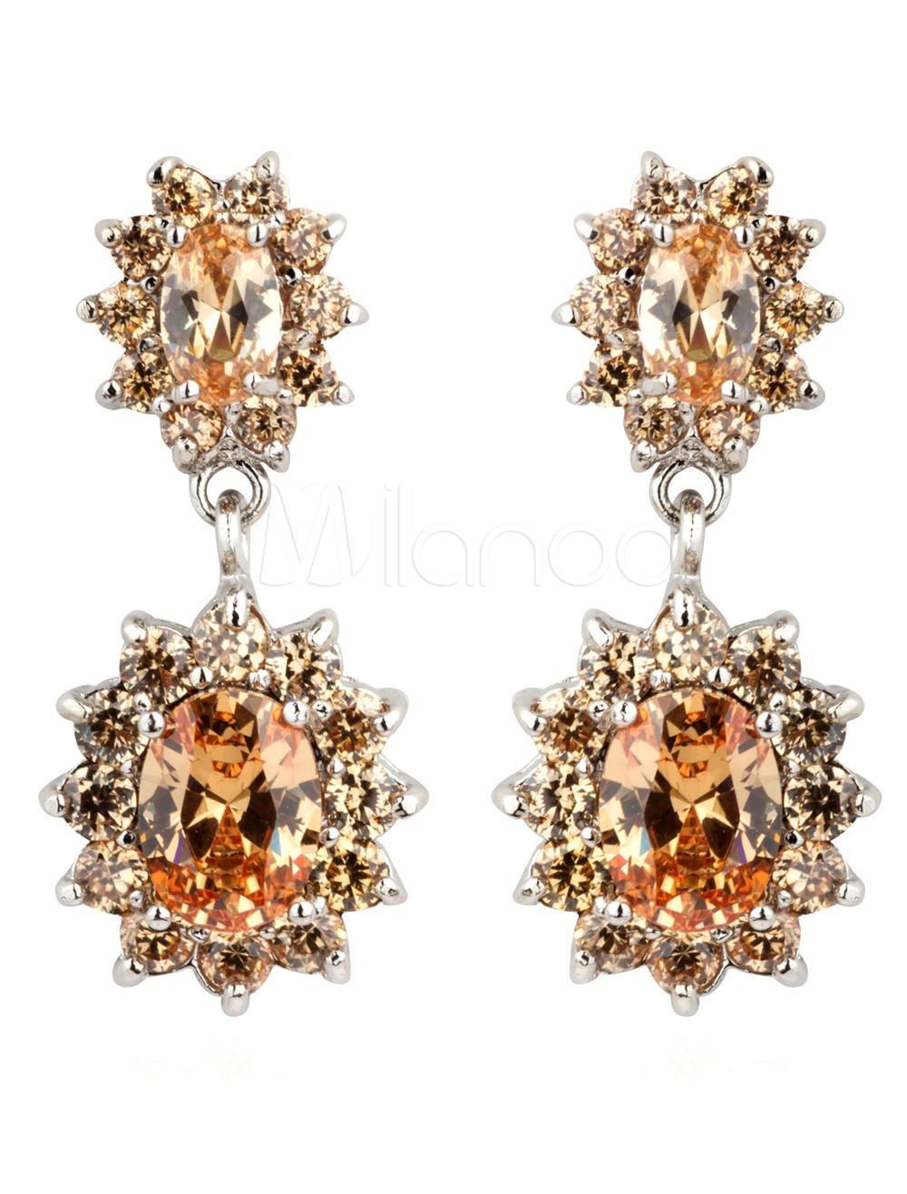Bronze Cubic Zirconia Pierced Princess Woman's Crystal Earrings