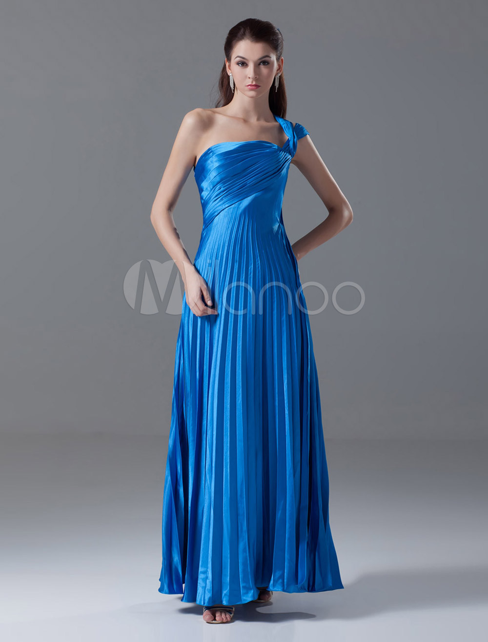 Royal Blue One-Shoulder Ankle-Length Evening Dress with Tiered (Wedding Evening Dresses) photo