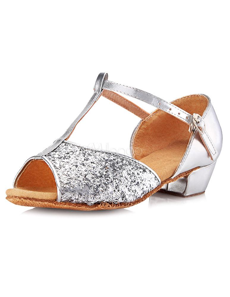 Peep Toe paillettes Mary Jane pailletés latine chaussures de chiffon belle fille ,No.4