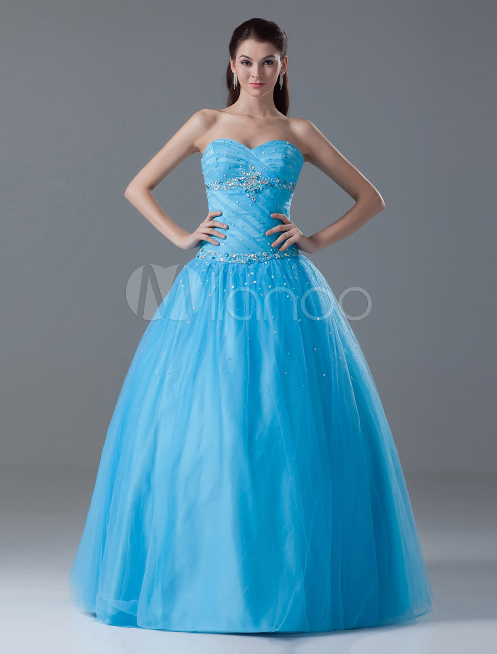 Blue Ball Gown Sweetheart Neck Beading Sleeveless Lace-up Tulle Graceful Ball Gown