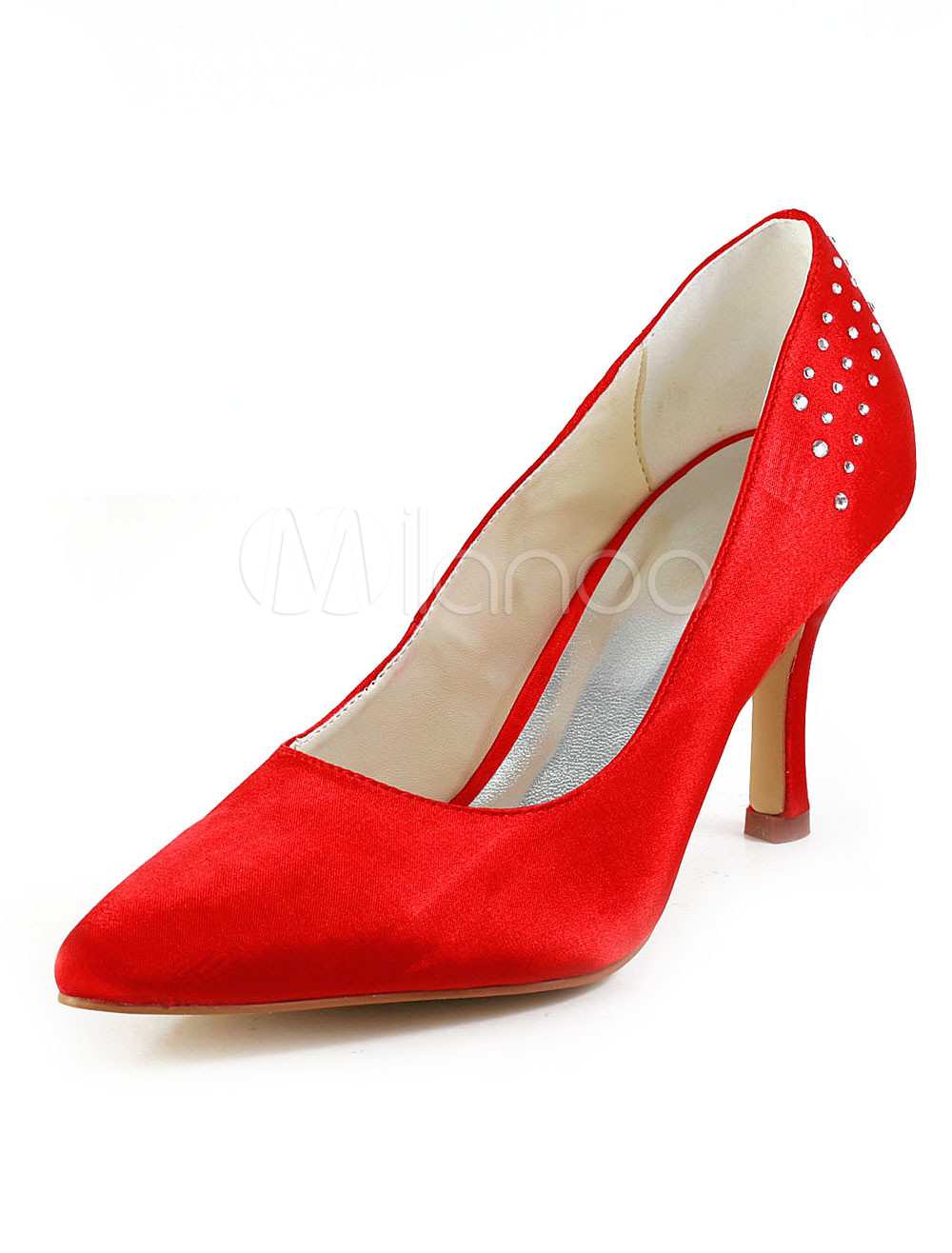 Pretty Red Silk And Satin Rhinestone Pointed Toe Pumps For Bridal