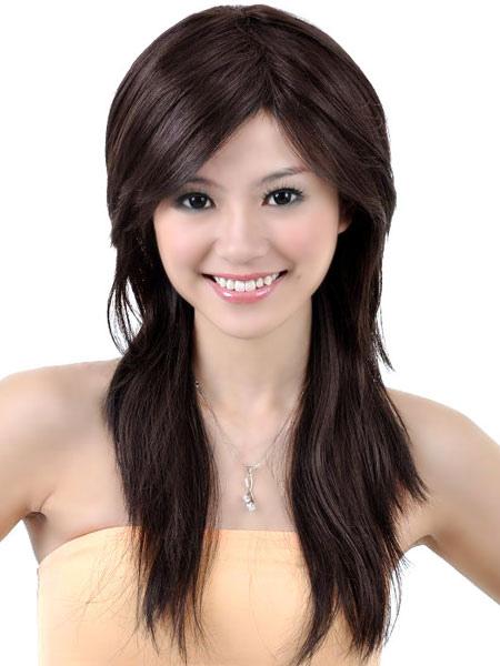 Brown Long Curly Women's Human Hair Wigs