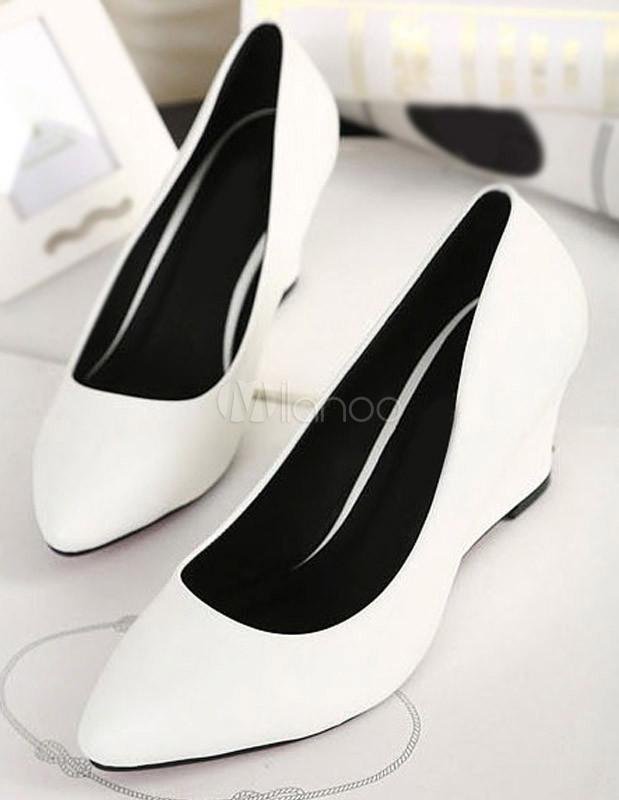 chic chaussures compenses de pu blanches et bout pointu no4 - Chaussure Mariage Compense