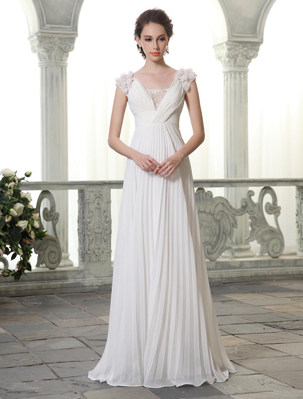 Floor Length Ivory Chiffon Wedding Dress With Flowers Milanoo