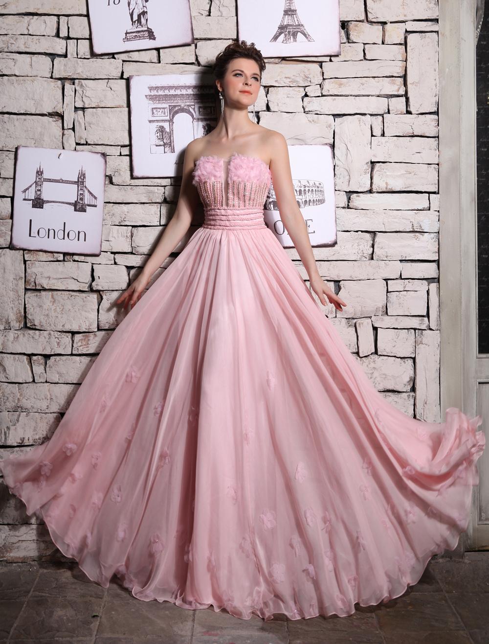 Pink Strapless Chiffon Evening Dress Milanoo (Wedding Evening Dresses) photo