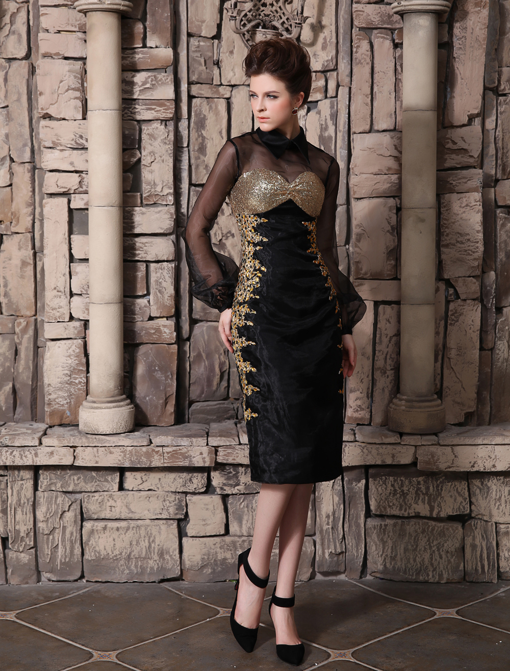 Black Beading Cowl Neck Long Sleeves Sheath Organza Cocktail Dress Wedding Guest Dress Milanoo (Cocktail Dresses) photo
