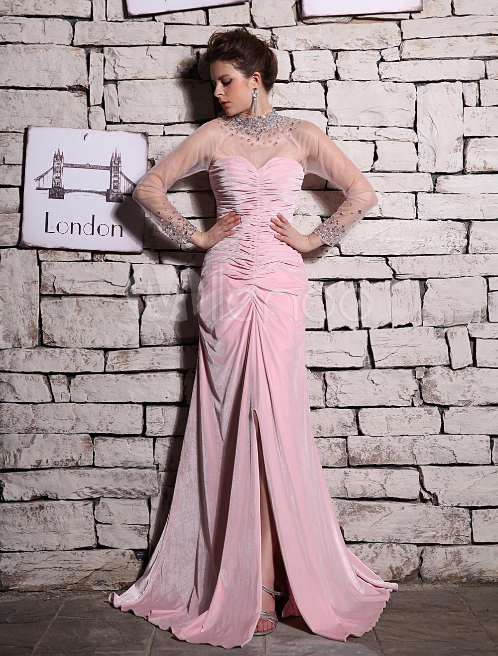 Pink High Collar Floor-Length Velvet Evening Dress Milanoo (Wedding Evening Dresses) photo