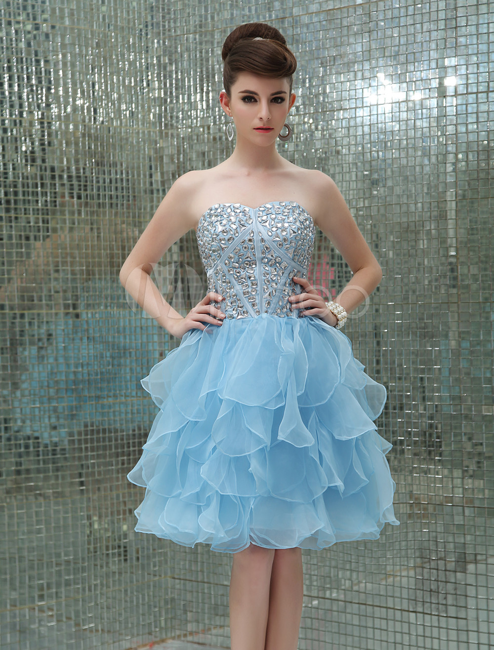Pastel Blue Cocktail Dress Tiered Organza Beaded Prom Dress Strapless Sweetheart Sleeveless A Line Short Party Dress (Wedding Prom Dresses) photo