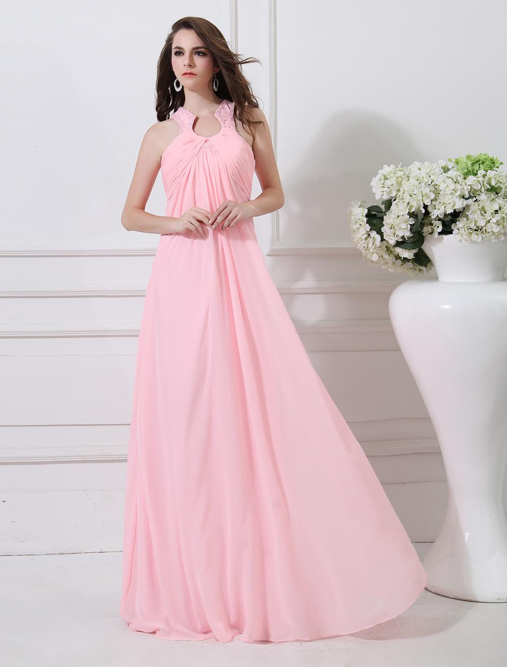 Grace Pink Keyhole Neck Pleated Sheath Chiffon Evening Dress (Wedding Evening Dresses) photo