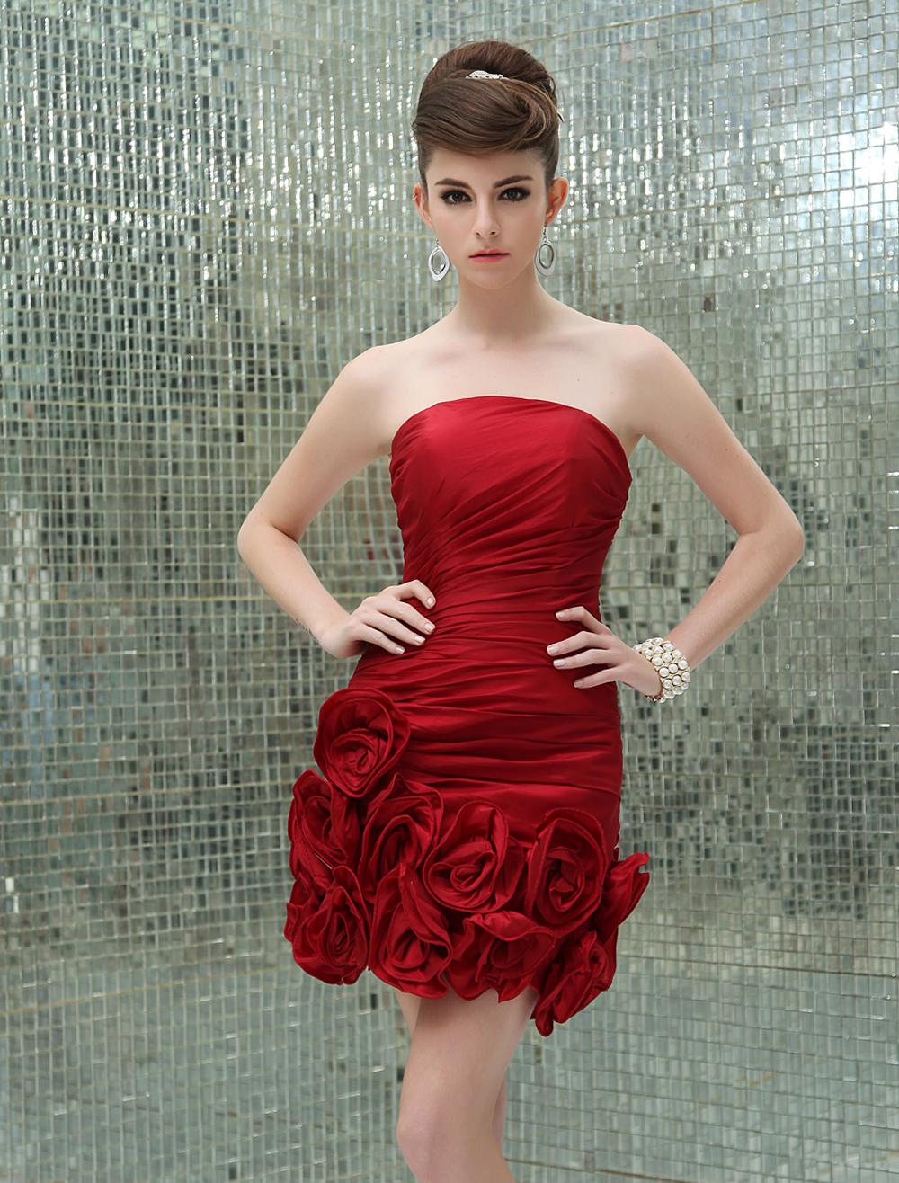 Red Flower Strapless Sheath Taffeta Grace Evening Dress For Women (Wedding Cheap Party Dress) photo
