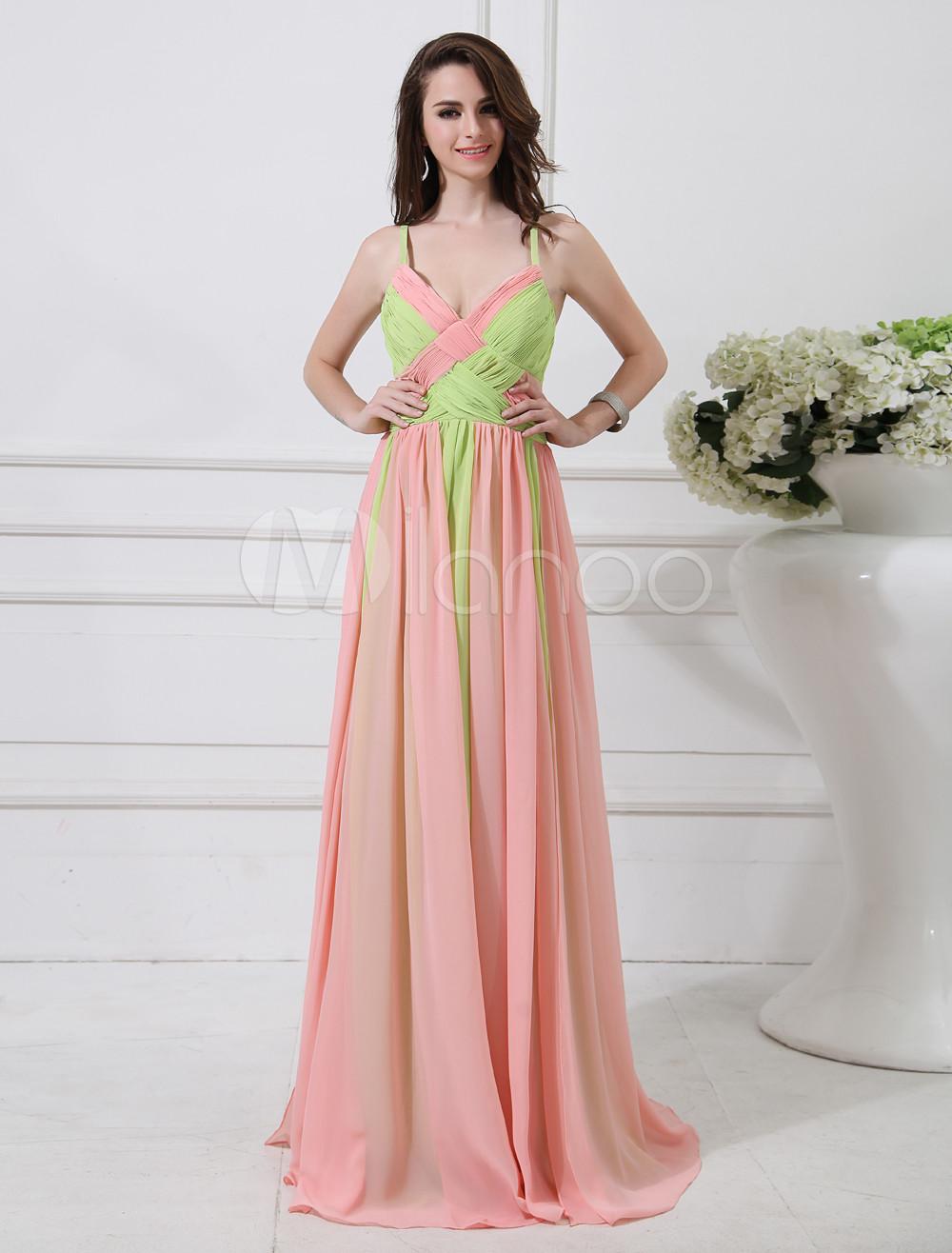 Beautiful Pink Spaghetti Straps Woven A-line Chiffon Evening Dress (Wedding Evening Dresses) photo