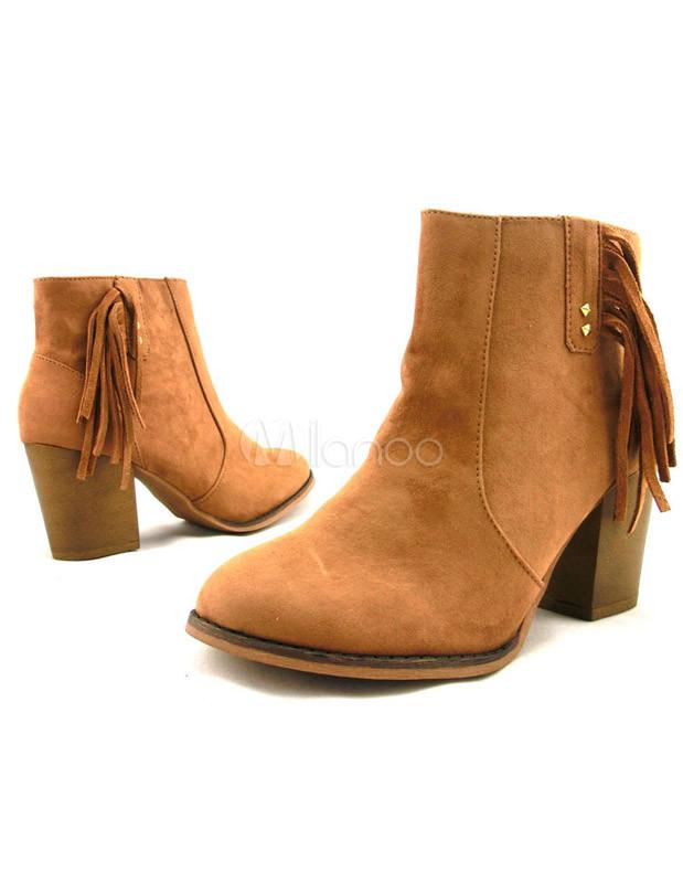 alto taln botines del ovalada tacn grueso gamuza cuero flecos grandes mujeres marrones no