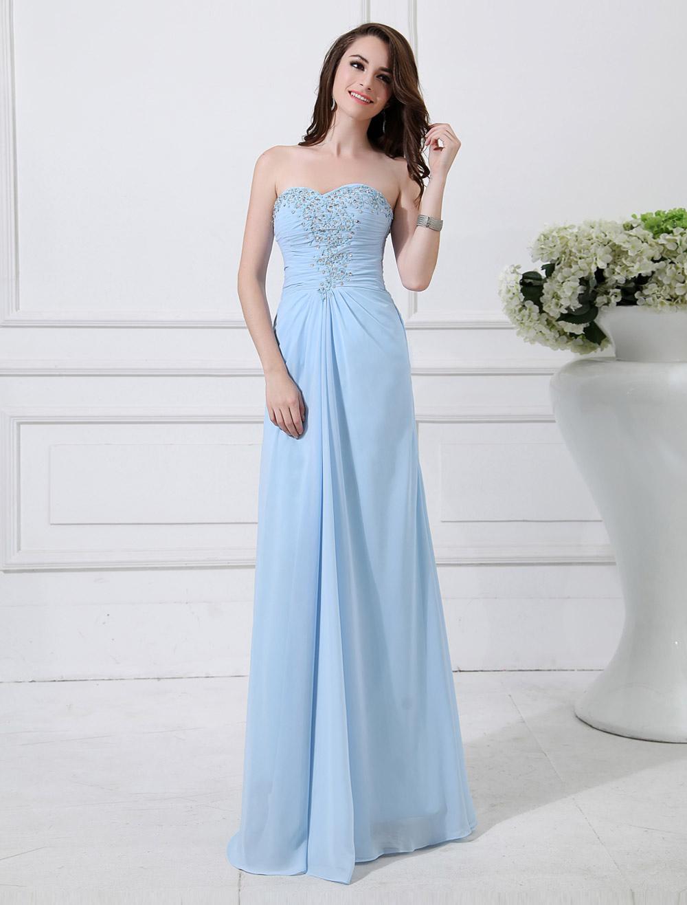 Chiffon Evening Dress Baby Blue Sweetheart Prom Dress Strapless Sleeveless Beading Floor Length Sheath Party Dress (Wedding Evening Dresses) photo