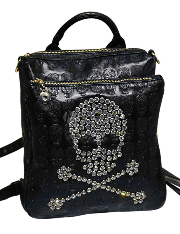 Casual Black Vertical Shape Skull Pattern PU Leather Backpack for Women