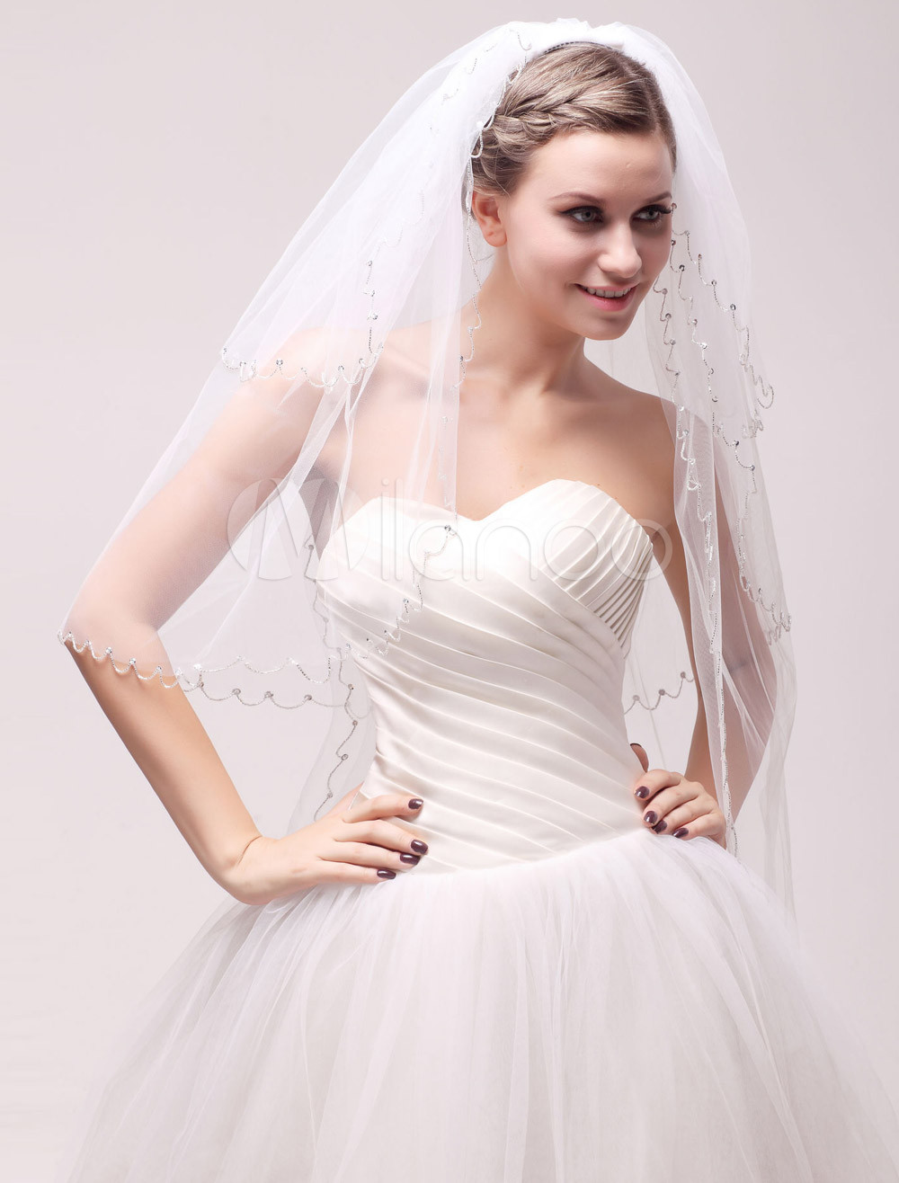 Ivory Net Waterfall Three-Tier Rhinestone Bridal Wedding Elbow Veil