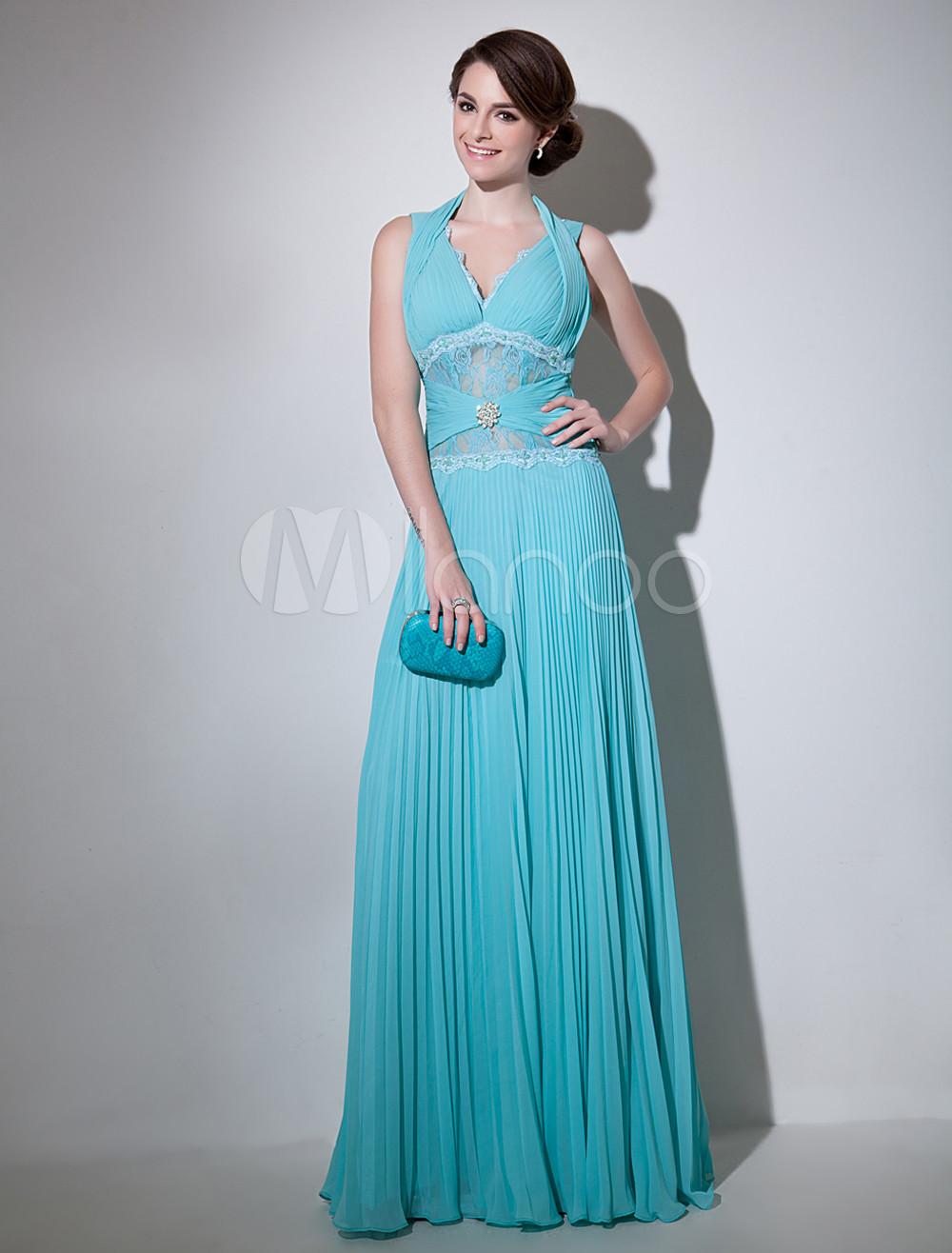 Grace Blue V-Neck Beading A-line Sleeveless Chiffon Evening Dress Milanoo (Wedding Evening Dresses) photo