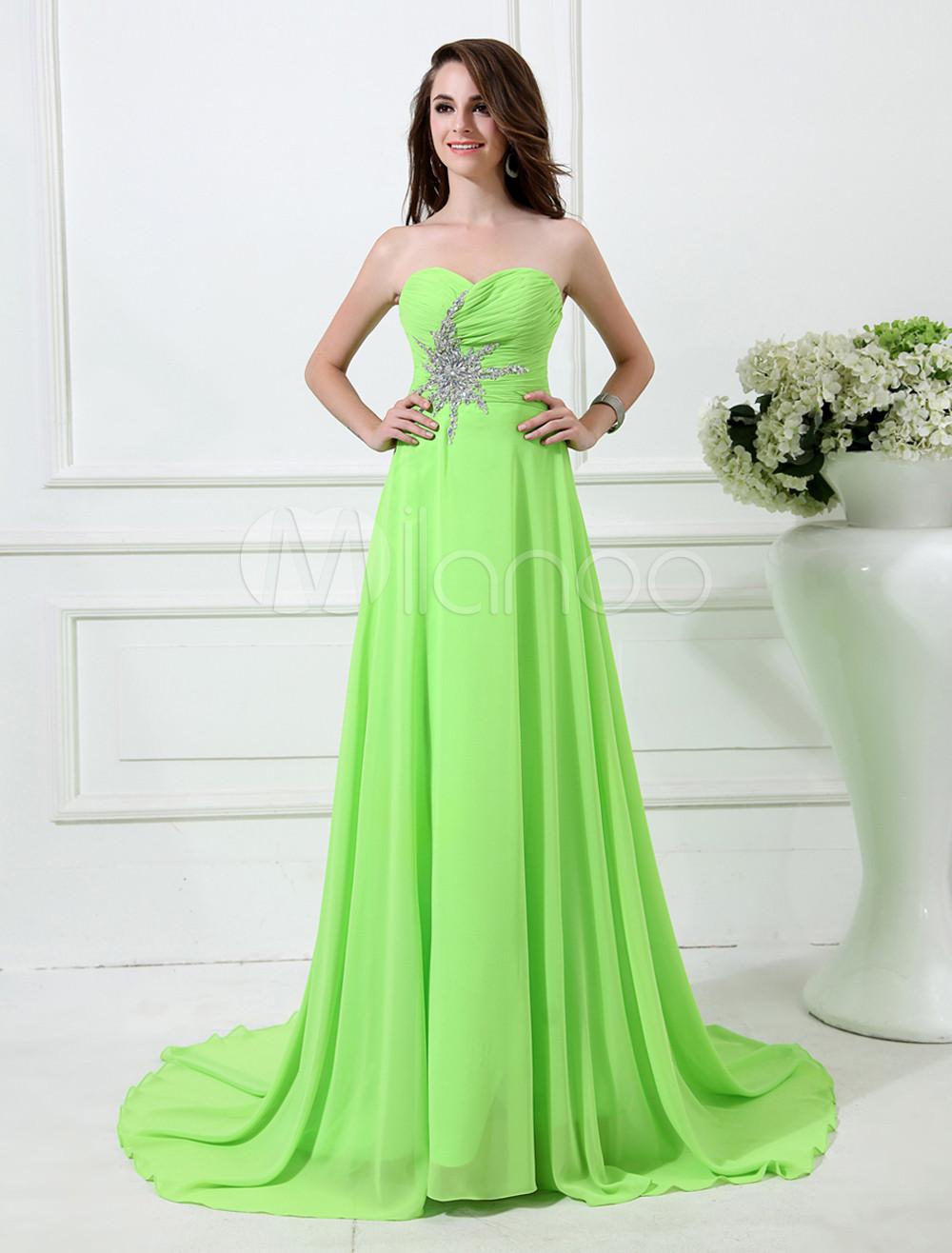 Lime Green Beading Chiffon Prom Dress (Wedding Prom Dresses) photo