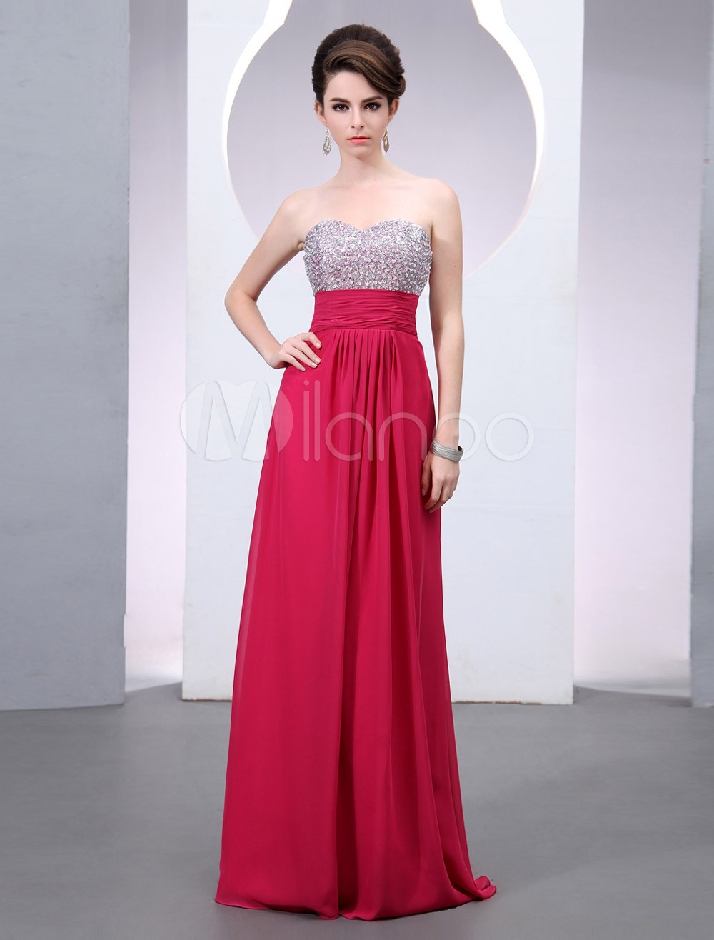 Glamour Sweetheart Neck Sleeveless Sequin A-line Chiffon Prom Dress