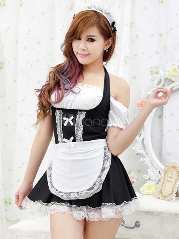 lace elastic woven satin women 39 s maid bedroom costume