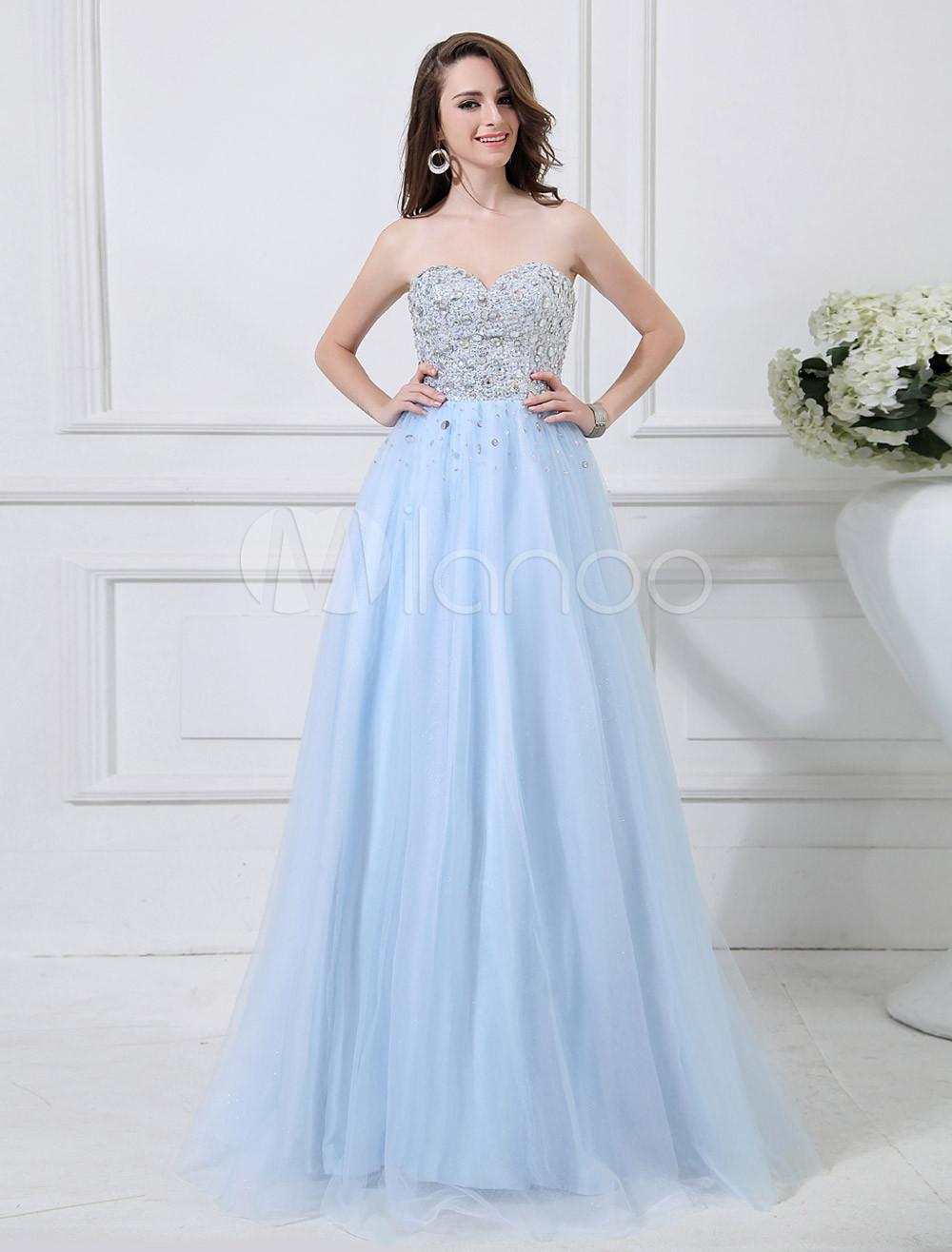 Light Blue Sweetheart Neck Tulle Prom Dress (Wedding Prom Dresses) photo