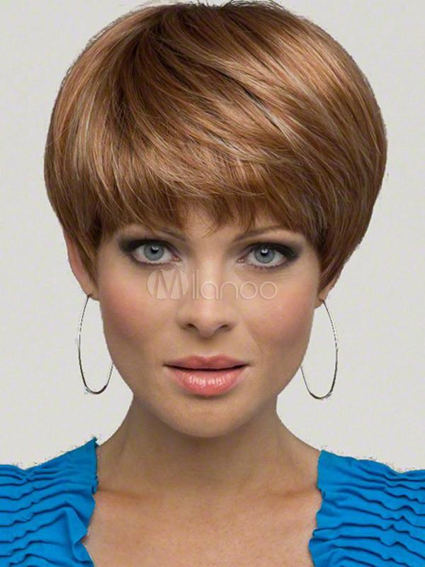 Perruque courte marronne claire avec frange - Coupe courte avec frange ...