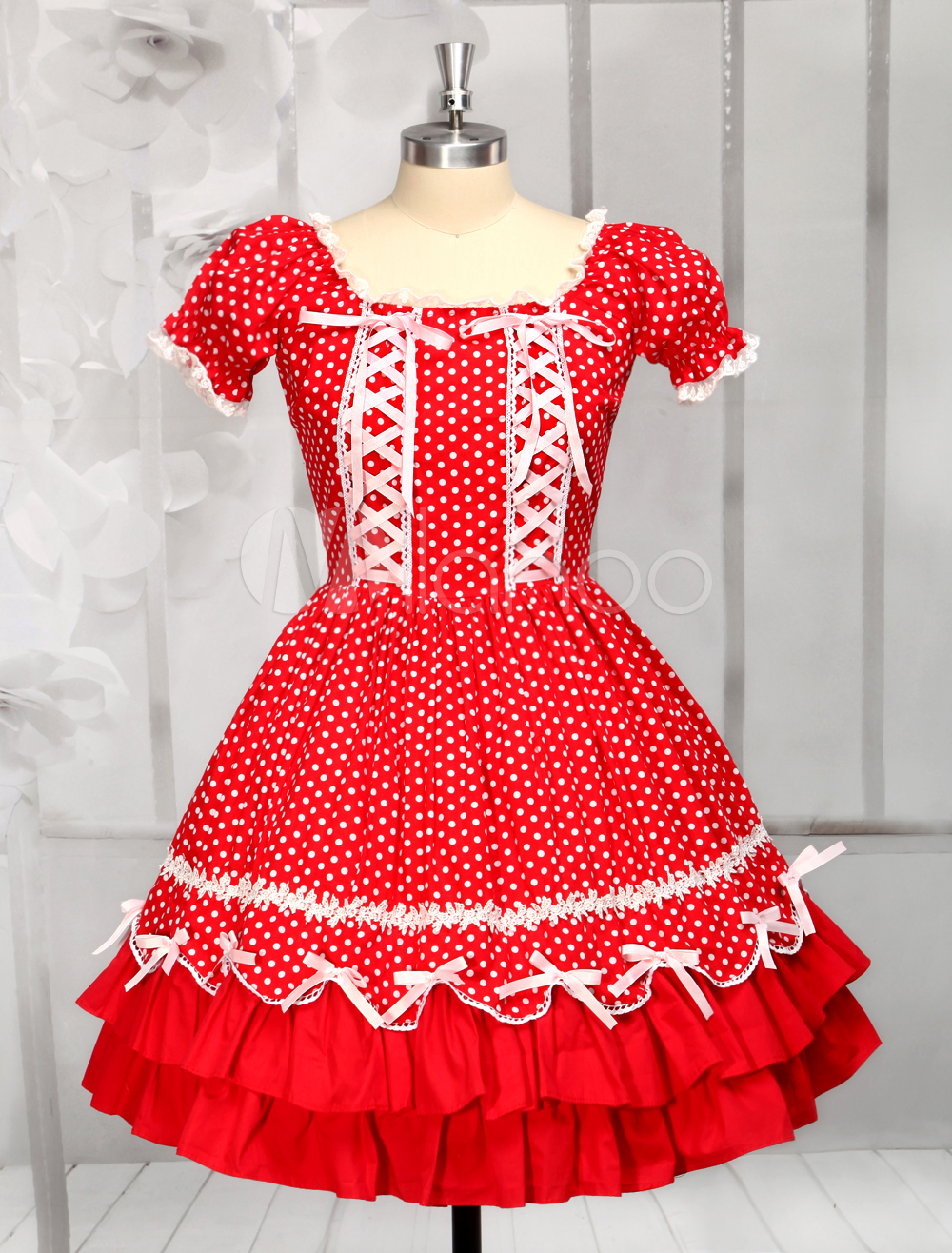 Red Cotton Short Sleeves Square Neck Drawstring Lolita Dress (Costumes) photo