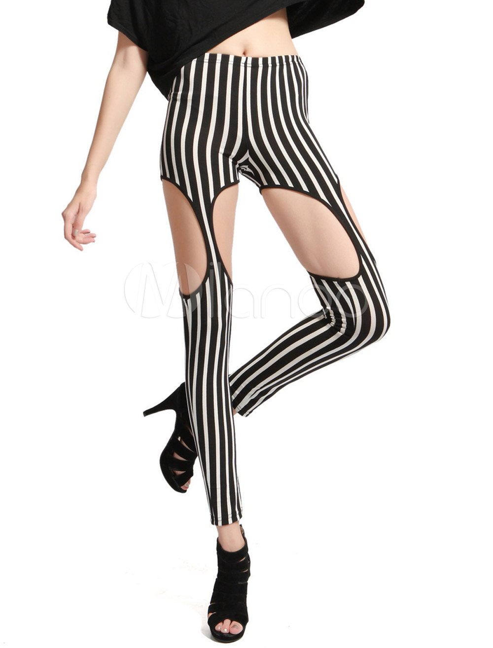 Black Cut Out Stripe Stylish Leggings For Women